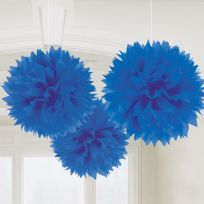 Royal Blue Fluffy Pom Pom Decorations (3)